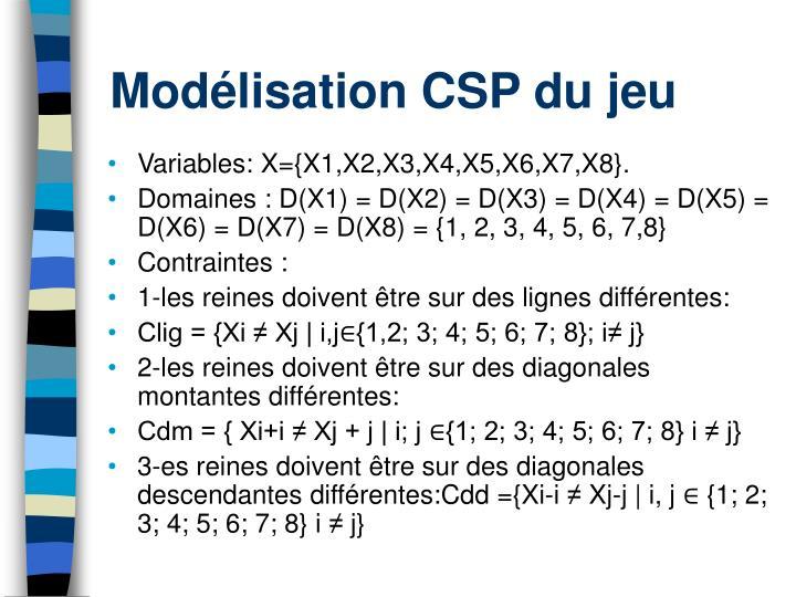 Modélisation CSP du jeu