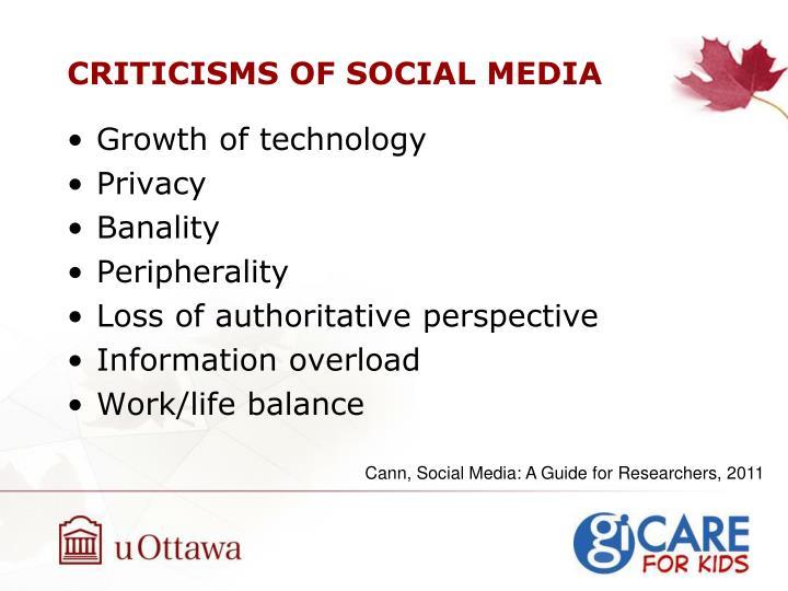 CRITICISMS OF SOCIAL MEDIA