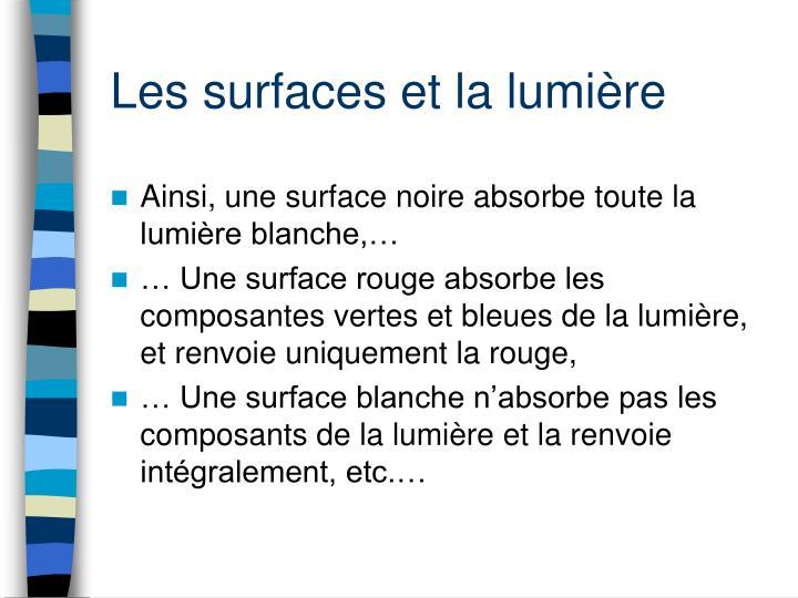 Les surfaces et la lumière