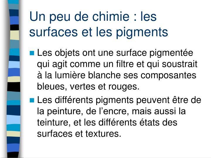 Un peu de chimie : les surfaces et les pigments