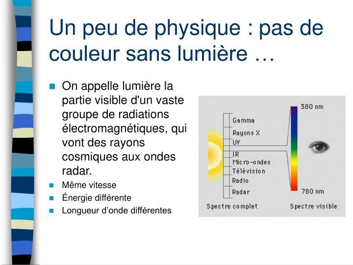 Un peu de physique : pas de couleur sans lumière …