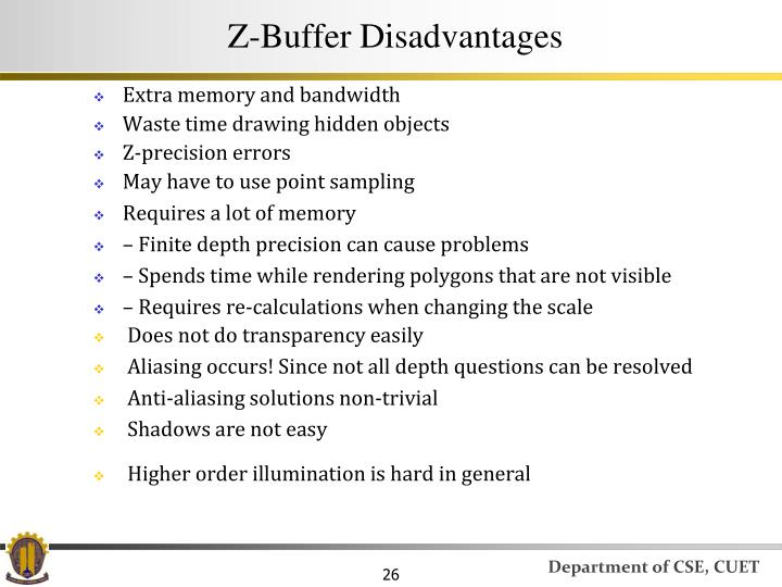 Z-Buffer Disadvantages