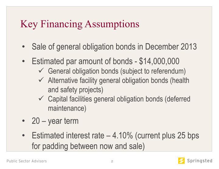 Key Financing Assumptions
