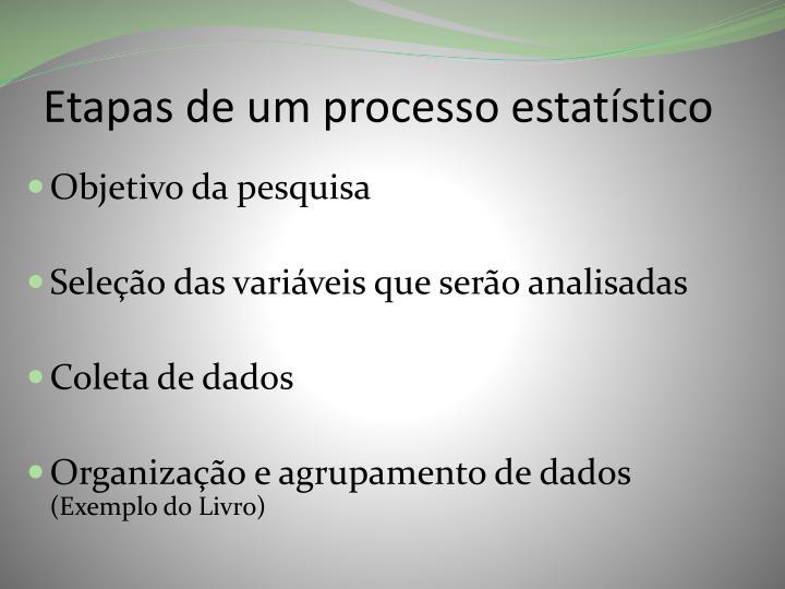 Etapas de um processo estatístico