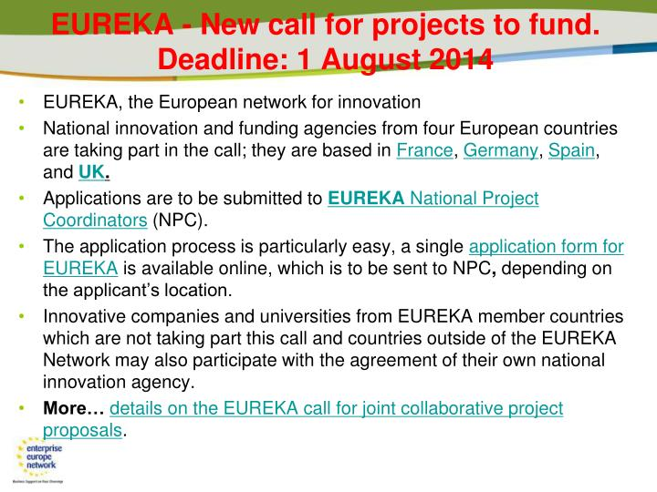 Eureka new call for projects to fund deadline 1 august 2014