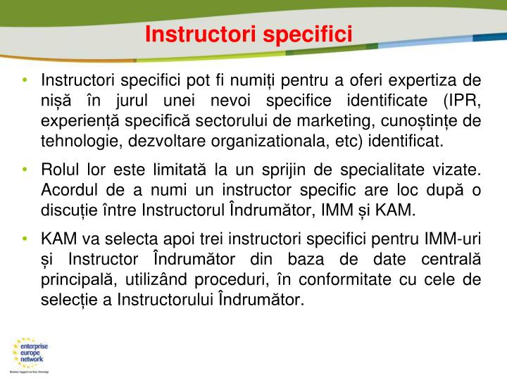 Instructori specifici