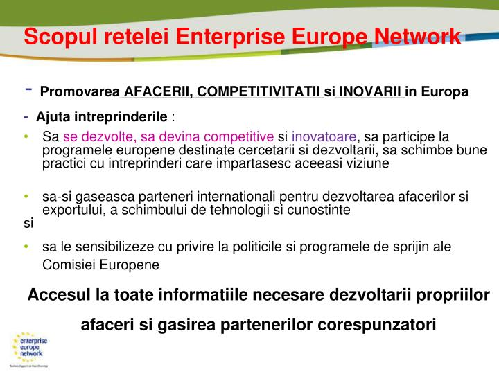 Scopul retelei Enterprise Europe Network