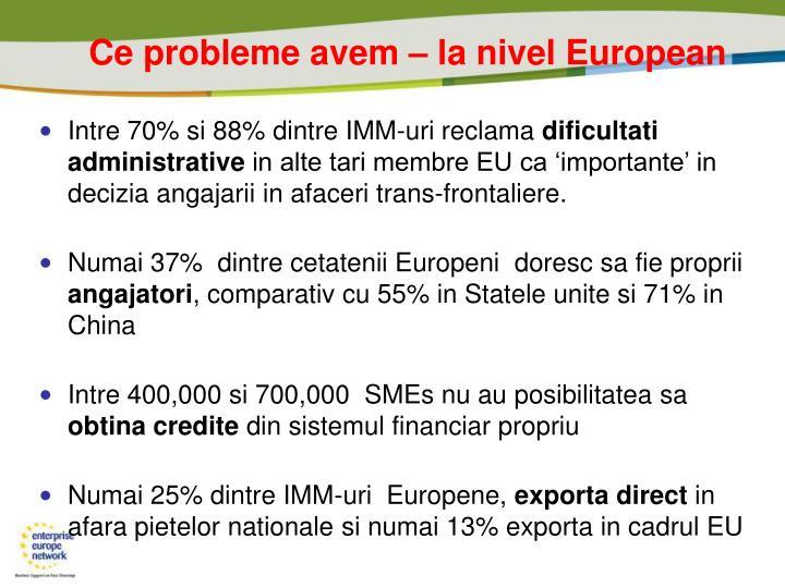 Ce probleme avem – la nivel European