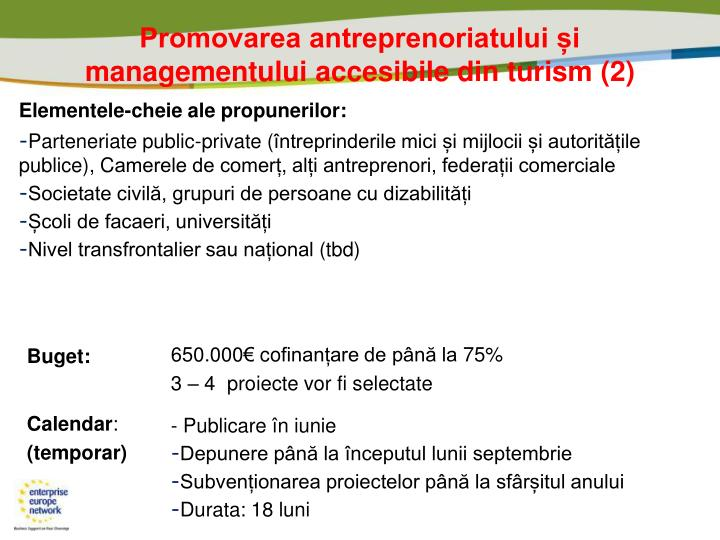 Promovarea antreprenoriatului și managementului accesibile din turism