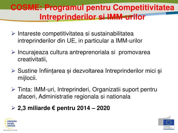 COSME: Programul pentru Competitivitatea Intreprinderilor si IMM-urilor