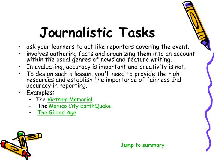Journalistic Tasks