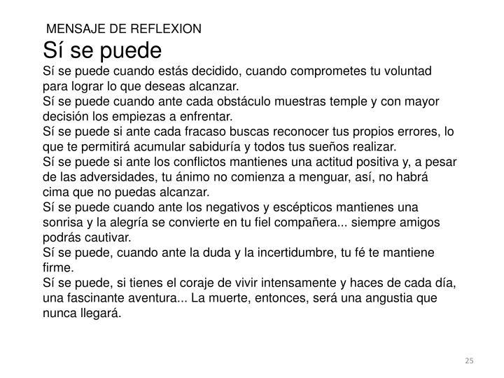 MENSAJE DE REFLEXION