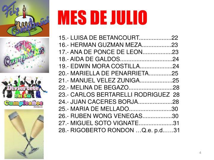 MES DE JULIO