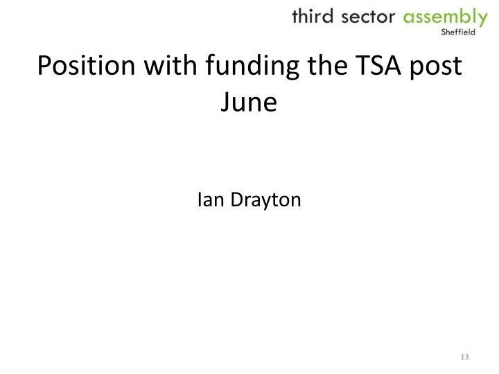 Position with funding the TSA post June