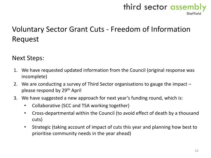 Voluntary Sector Grant Cuts - Freedom of Information Request