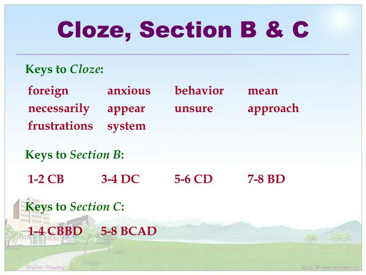 Cloze, Section B & C