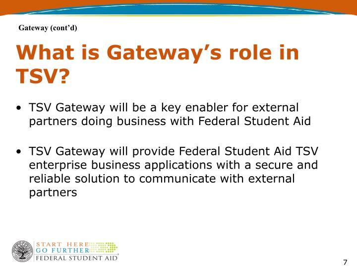 Gateway (cont'd)