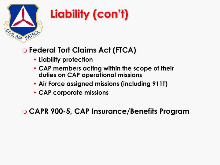 Liability (con't)