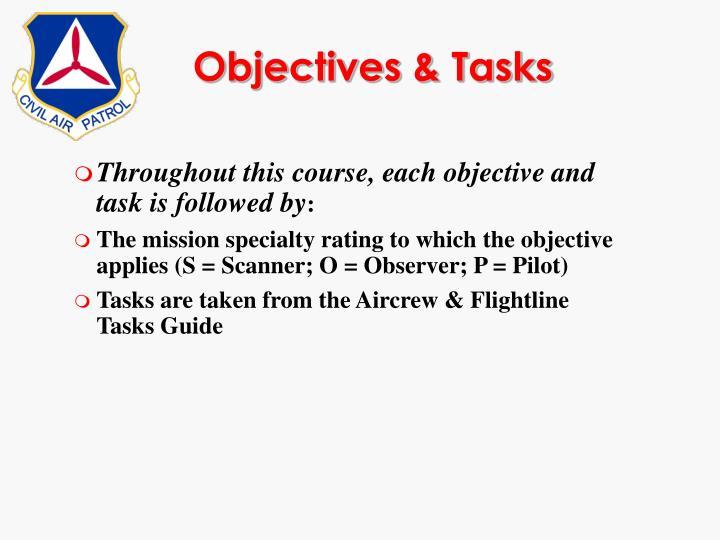 Objectives & Tasks