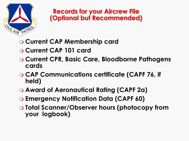 Records for your Aircrew File