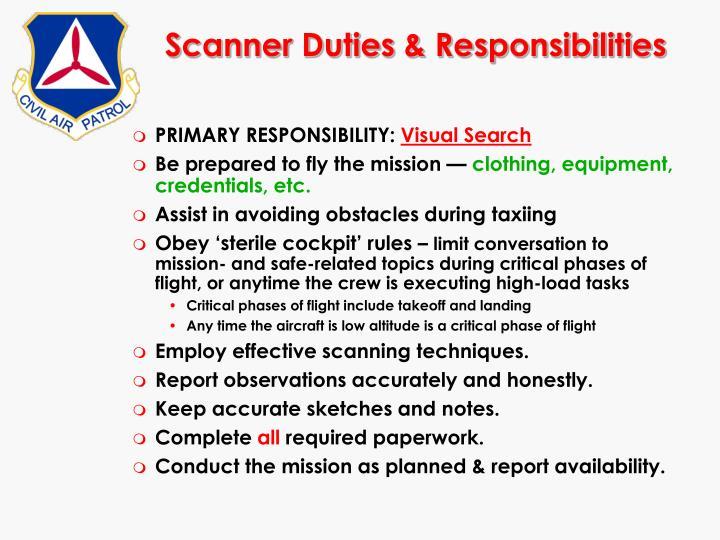 Scanner Duties & Responsibilities