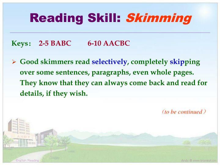 Reading Skill: