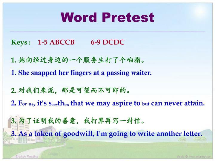 Word Pretest