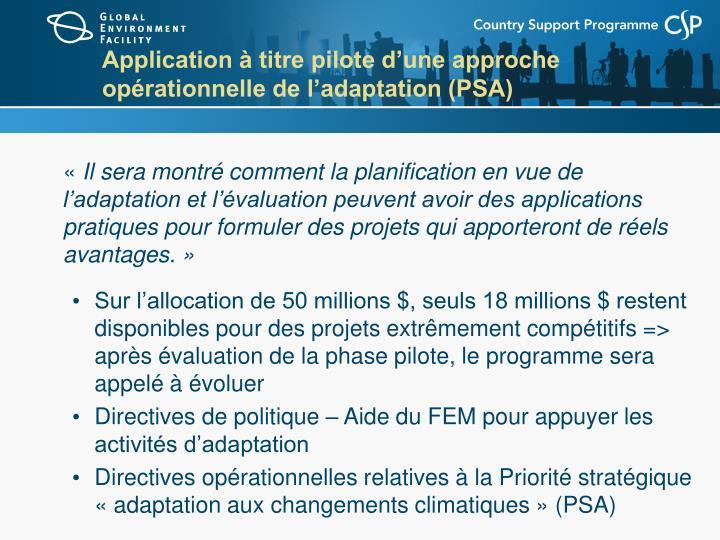 Application à titre pilote d'une approche opérationnelle de l'adaptation (PSA)
