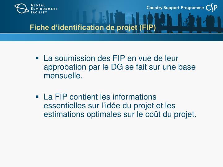 Fiche d'identification de projet (FIP)