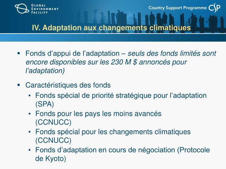 IV. Adaptation aux changements climatiques
