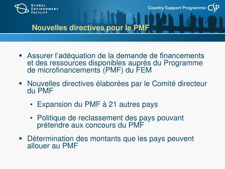 Nouvelles directives pour le PMF