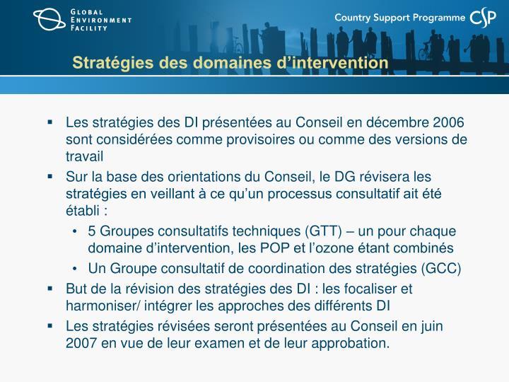Stratégies des domaines d'intervention