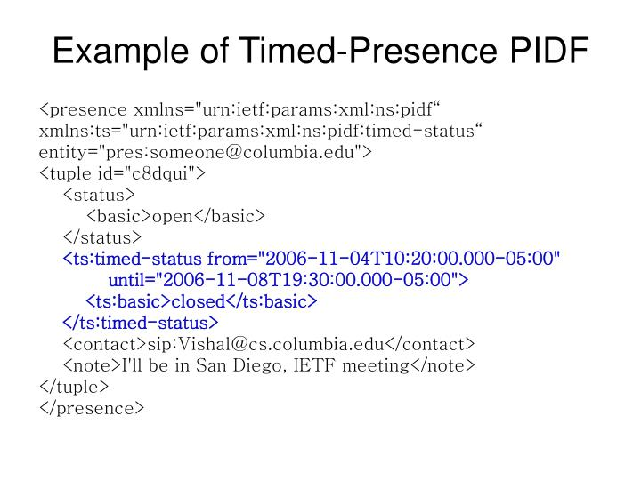 Example of Timed-Presence PIDF