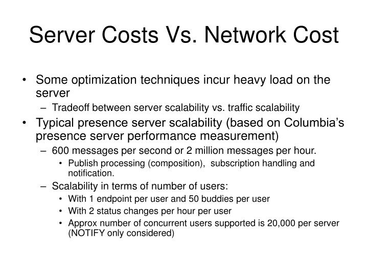 Server Costs Vs. Network Cost