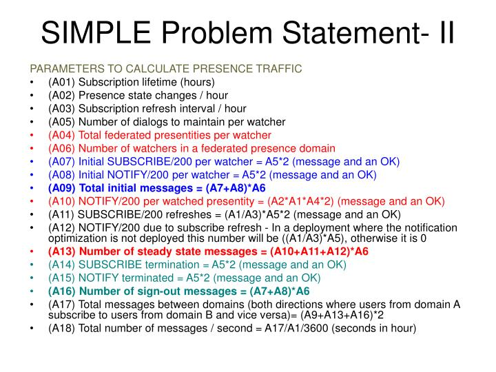 SIMPLE Problem Statement- II
