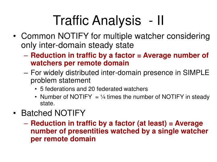 Traffic Analysis  - II