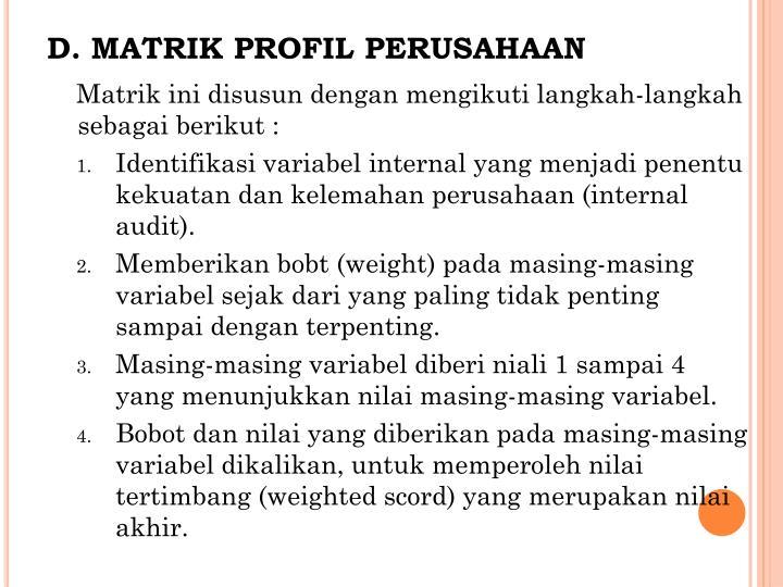 MATRIK PROFIL PERUSAHAAN