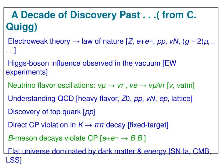 A Decade of Discovery Past . . .( from C. Quigg)