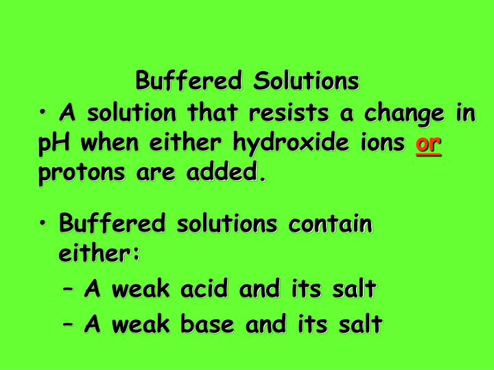 Buffered Solutions