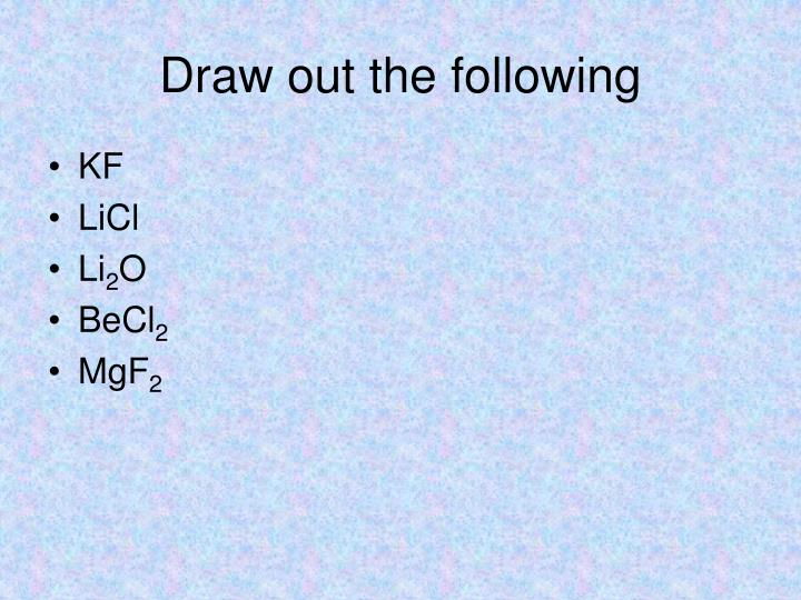 Draw out the following