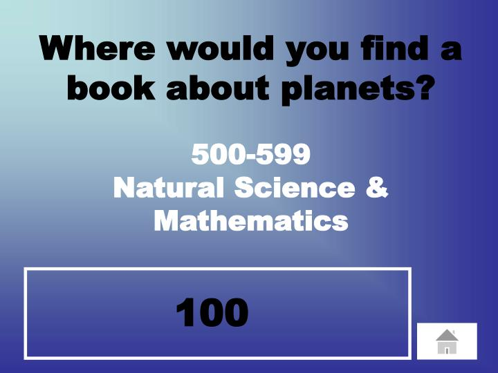 Where would you find a book about planets?