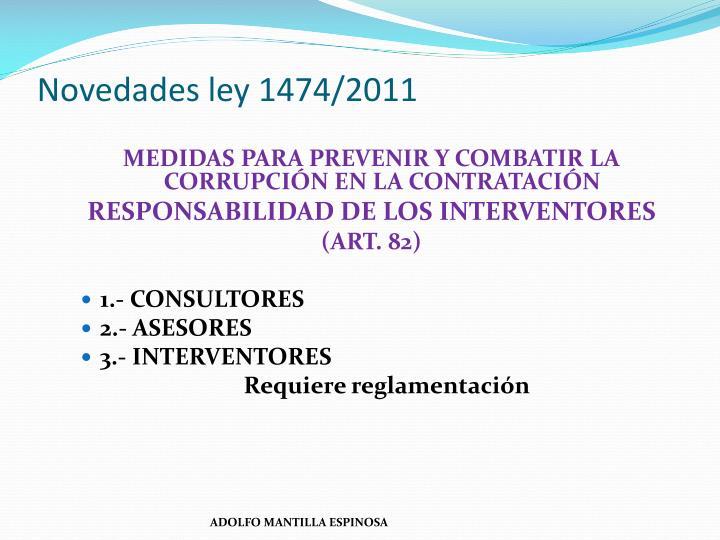 Novedades ley 1474/2011