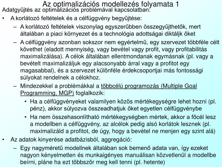 Az optimalizációs modellezés folyamata 1