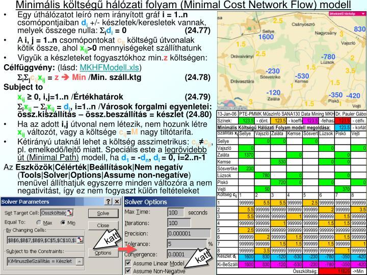 Minimális költségű hálózati folyam (Minimal Cost Network Flow) modell