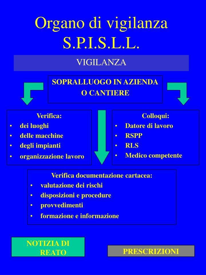 Organo di vigilanza S.P.I.S.L.L.