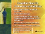 establish specific outcomes and metrics