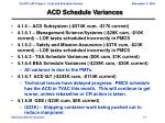 acd schedule variances