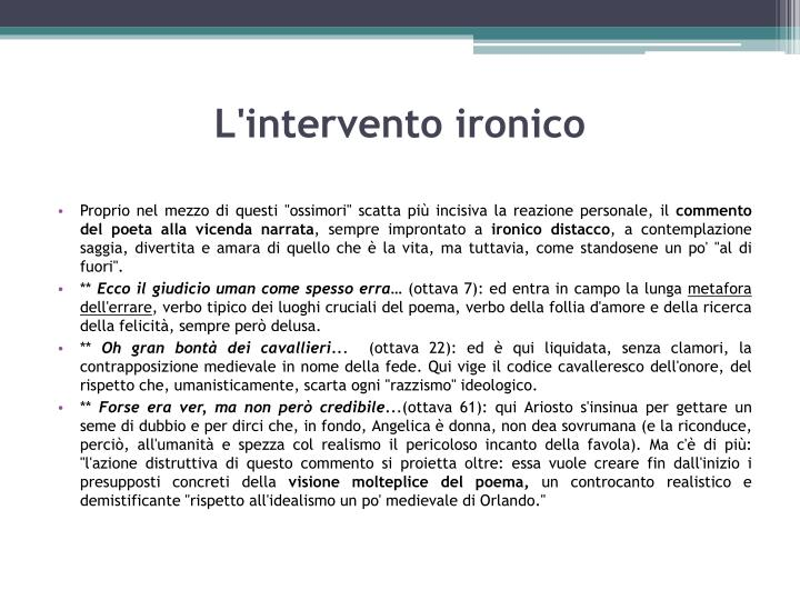 L'intervento ironico