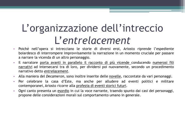 L'organizzazione dell'intreccio