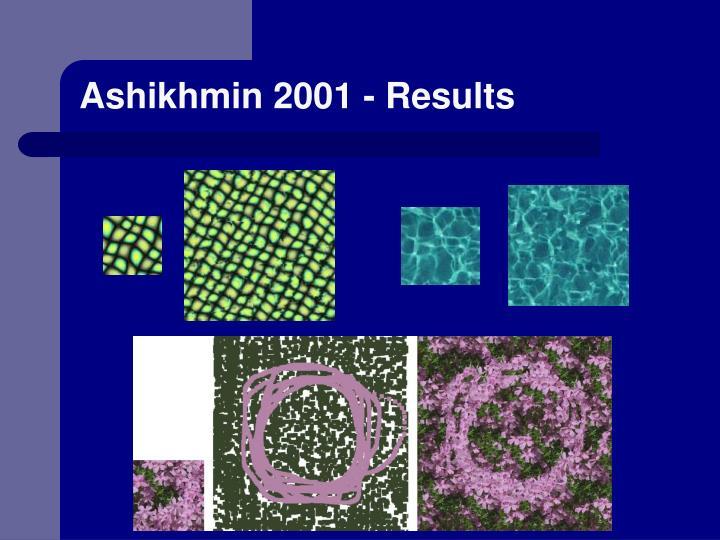 Ashikhmin 2001 - Results